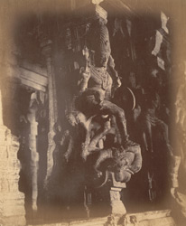 Close view of pillar with sculptured figure from the Pudu Mandapa, Minakshi Sundareshvara Temple, Madurai